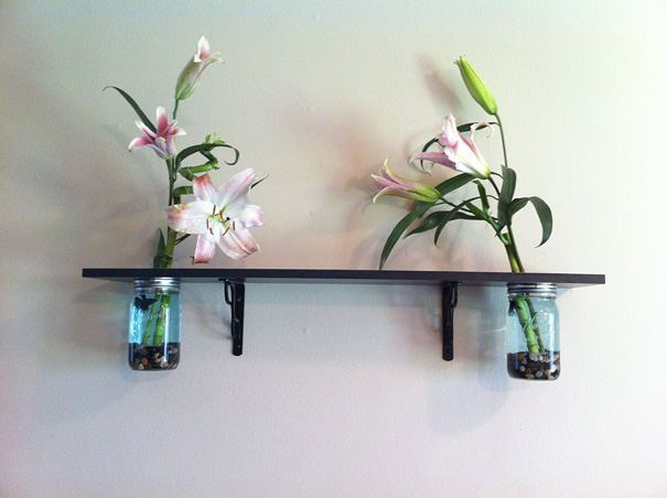 simple Mason jar that was attached to a wall shelf