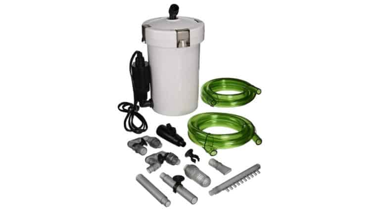 Canister Filter and it's components in white background