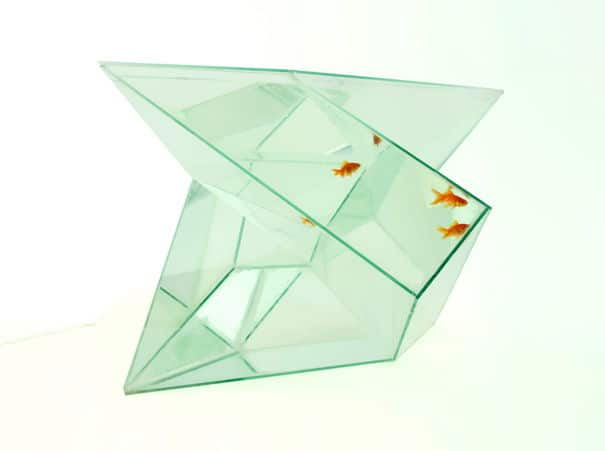 The repetitive geometrical shape of Infinity aquarium creates a visual metaphor to life in the fish bowl.