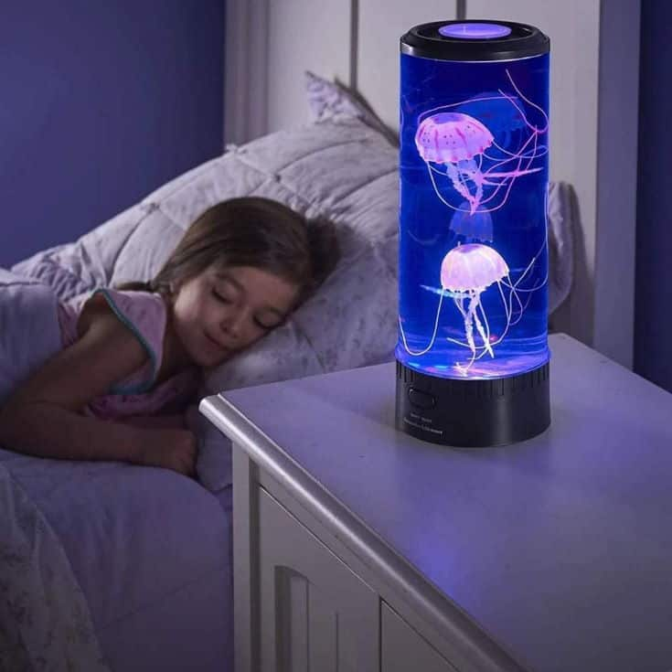 Bambus LED Fantasy Jellyfish Lamp Round with 5 Color Changing Light Effects, Electric Jellyfish Tank Table Lamp with Color Changing Light Gift for Kids Men Women Home Deco