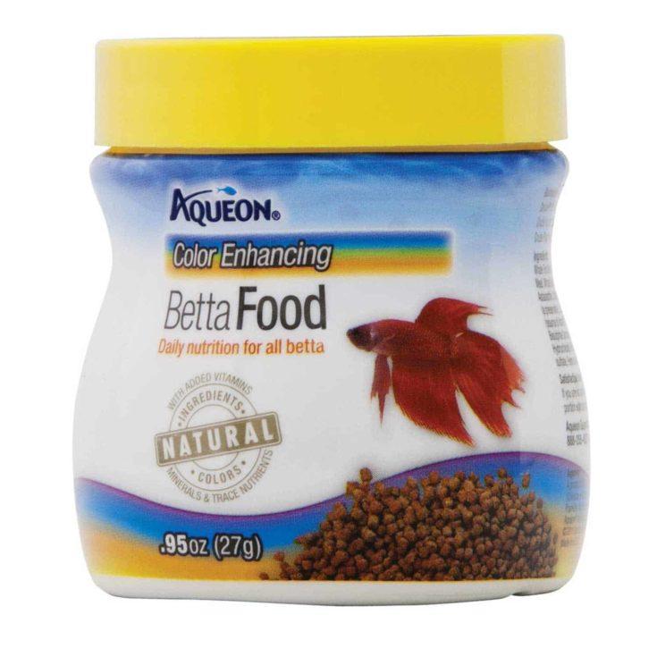 Aqueon Betta Color Enhancing Pellets Betta Food, .95 oz. in a white background.