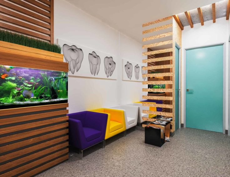 Reception in dental clinic design in a modern style