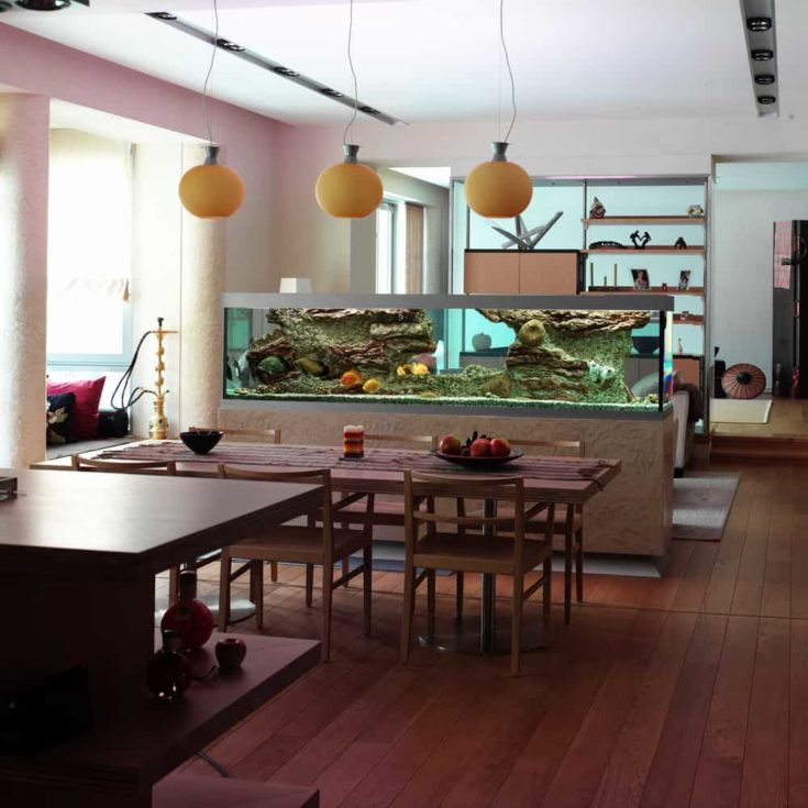 Interior of a dinning room with a displayed aquarium.