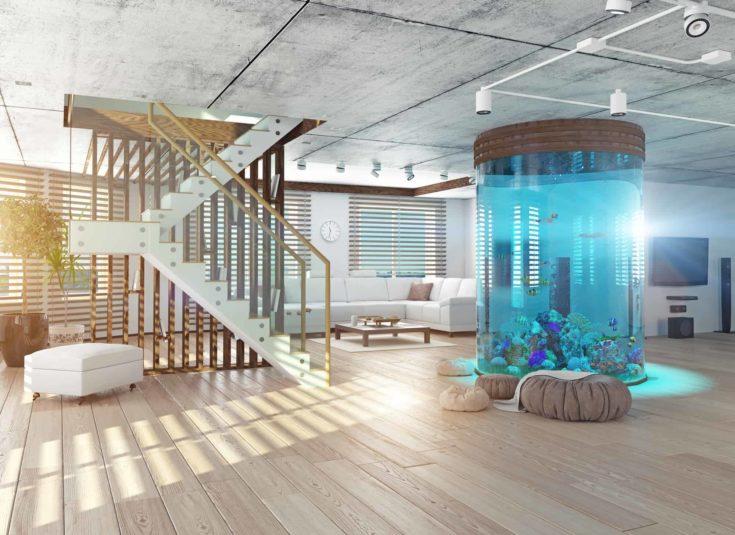 The modern loft interior with aquarium. 3d concept
