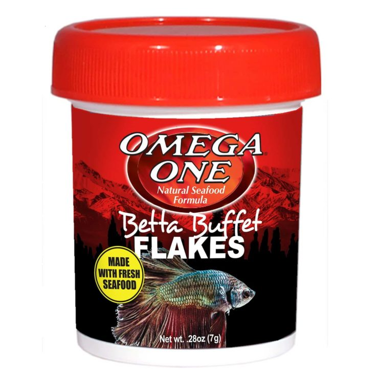 Omega One Betta Buffet Flakes Fish Food, 0.28 oz. in a white background.