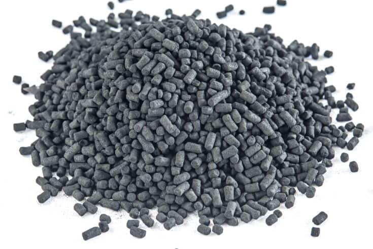 Active coal for filters