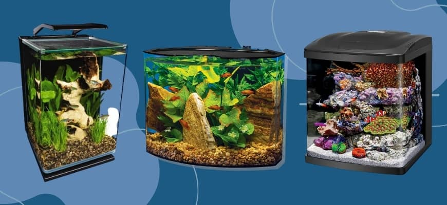 Best Nano Aquariums: Guide and Product Reviews - Three design nano tanks.