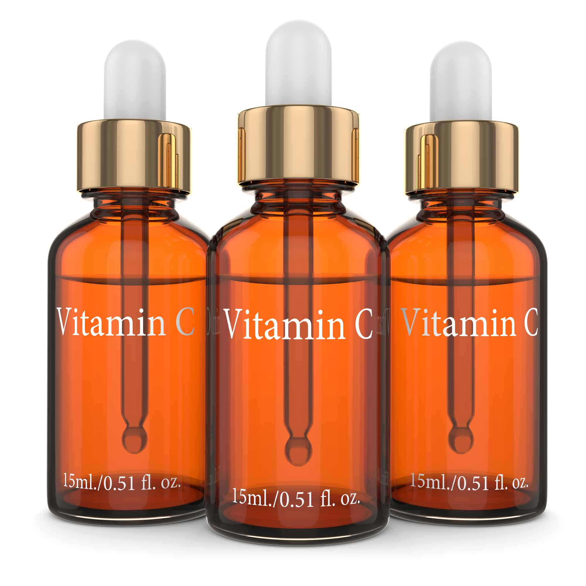 3d render of vitamin C bottles with dropper over white background