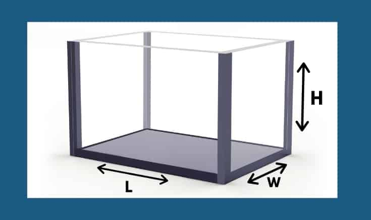 Vector of rectangular aquarium with dimensional signs.