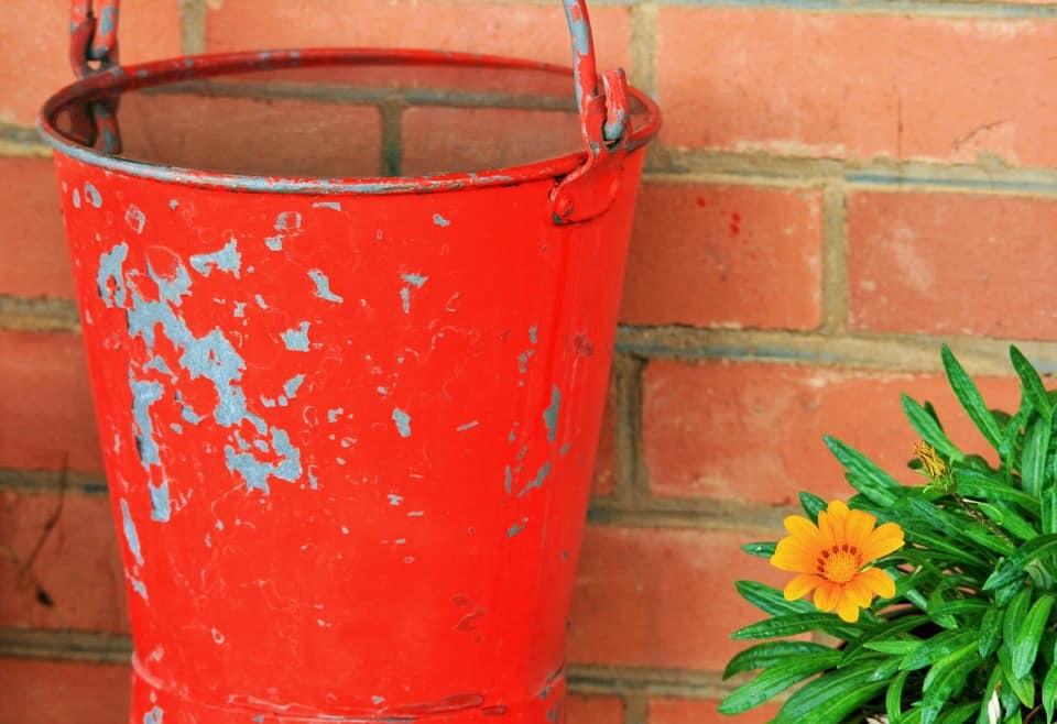 water in an orange bucket