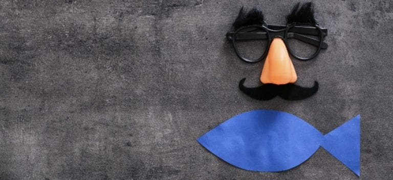 Eyeglasses, nose, mustache and blue fish made of paper in gray background