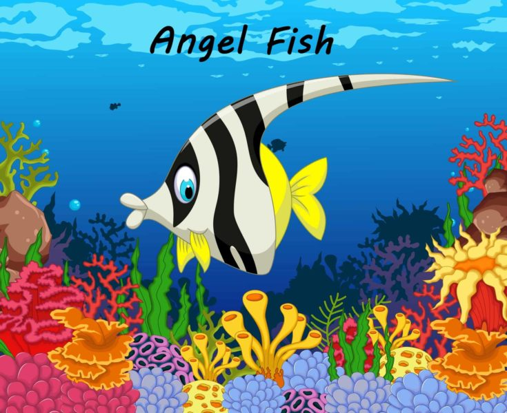 Funny black and white angel fish cartoon with beauty sea life background