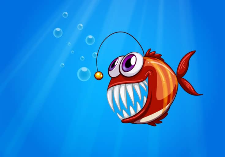 Illustration of a scary piranha under the sea