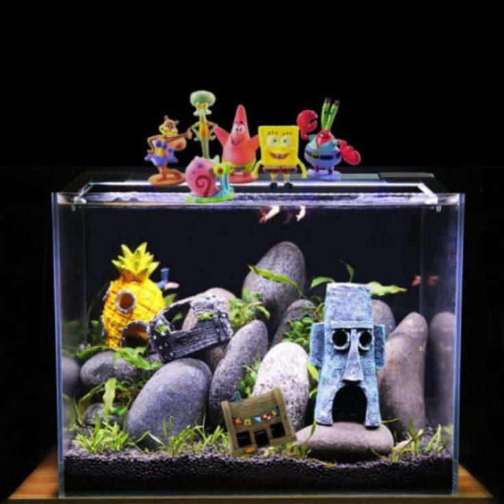 Aquarium accessories and more decoration decor plants spongebob mermaid
