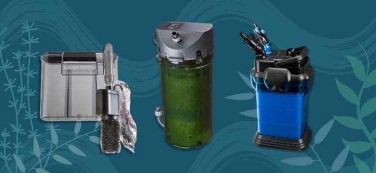 3 Aquarium Filter products in blue printed background
