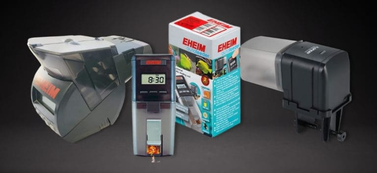 3 products of automatic fish feeder in grey background
