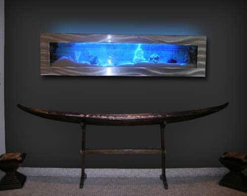 Aussie Aquariums 2.0 Wall Mounted Aquarium - Panoramic - Silver Stainless Steel