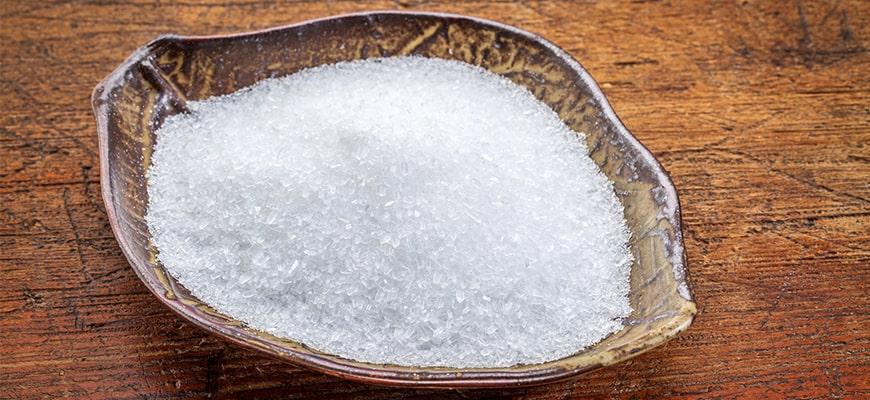 Epsom salts (Magnesium sulfate ) on the table